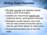 writing good resumes
