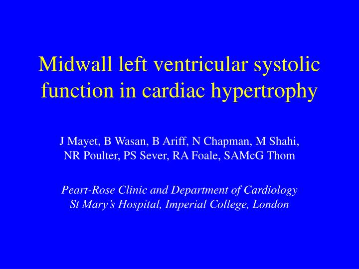 midwall left ventricular systolic function in cardiac hypertrophy n.