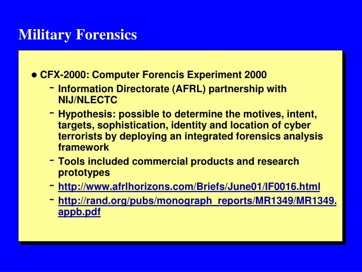Military Forensics