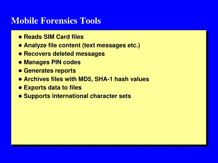 Mobile Forensics Tools