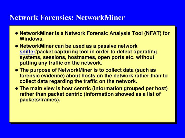 Network Forensics: NetworkMiner
