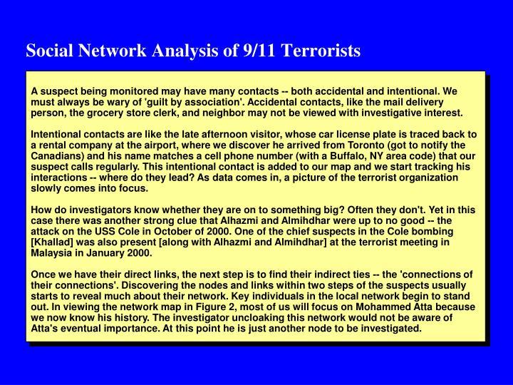Social Network Analysis of 9/11 Terrorists