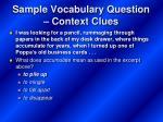 sample vocabulary question context clues