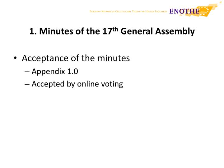 1 minutes of the 17 th general assembly