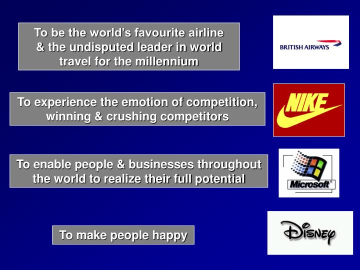 To be the world's favourite airline     & the undisputed leader in world travel for the millennium