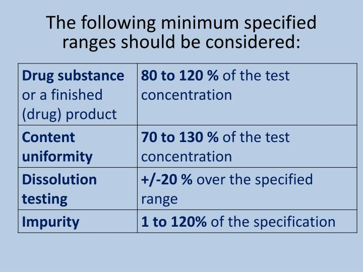the following minimum specified ranges should be considered n.