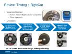 review testing a rightcut