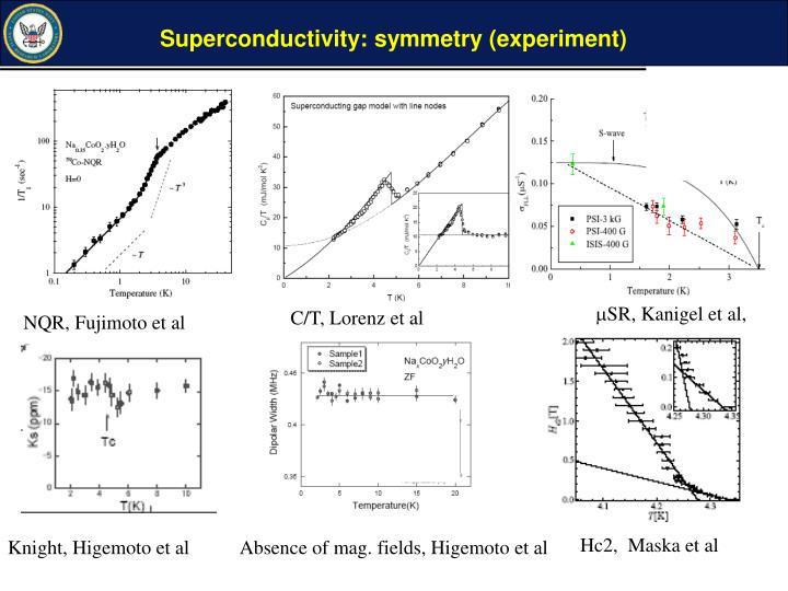 Superconductivity: symmetry (experiment)
