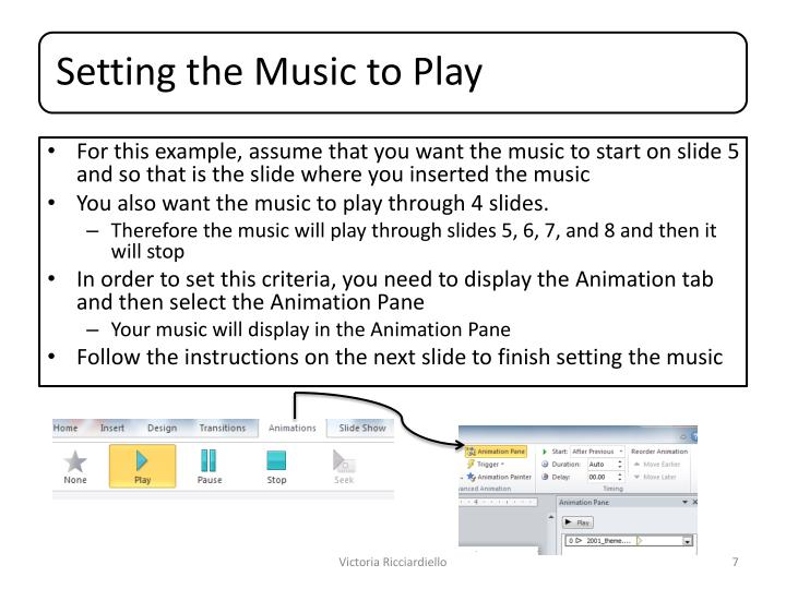 For this example, assume that you want the music to start on slide 5 and so that is the slide where you inserted the music