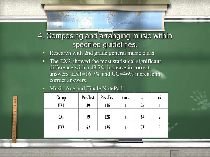 4. Composing and arranging music within specified guidelines.