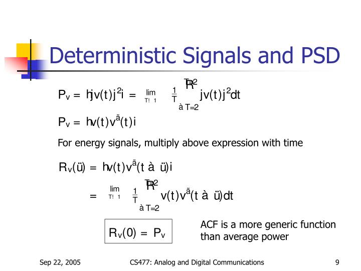 Deterministic Signals and PSD