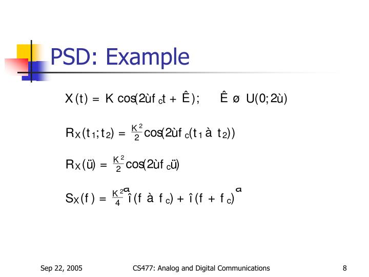 PSD: Example