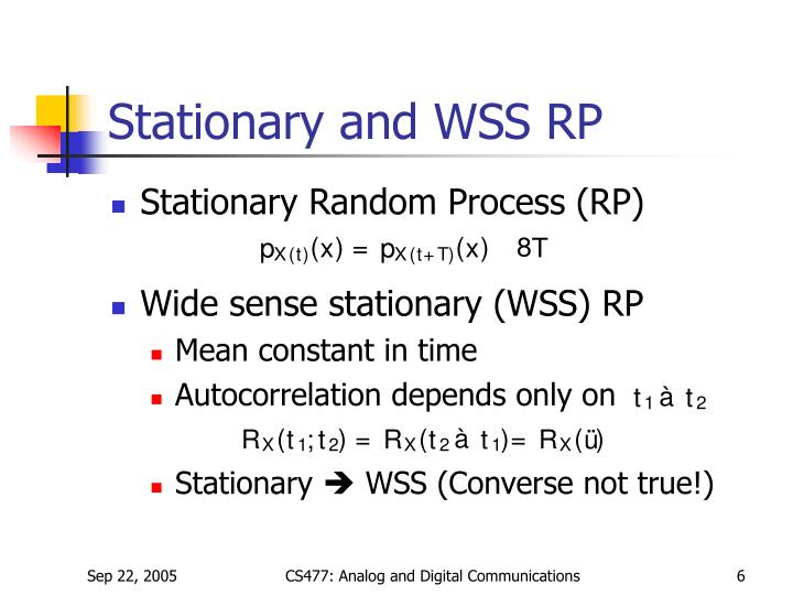 Stationary and WSS RP
