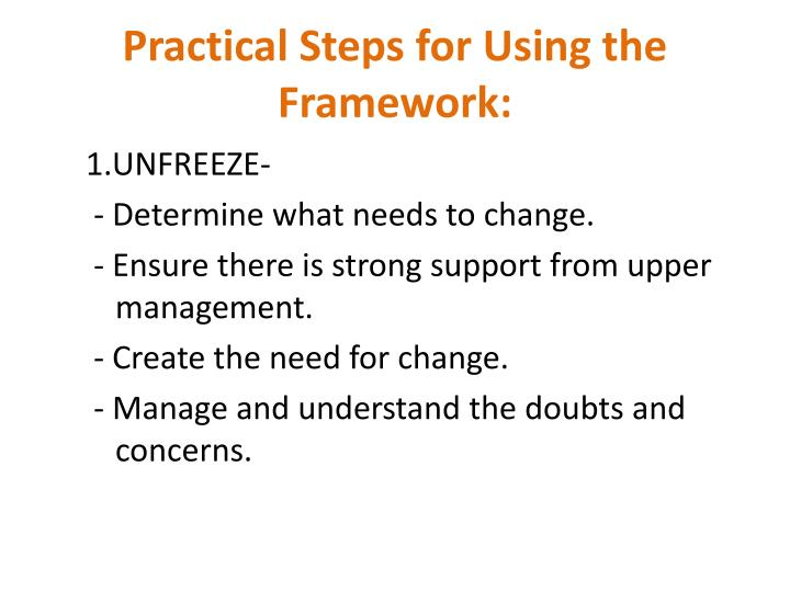 Practical Steps for Using the Framework: