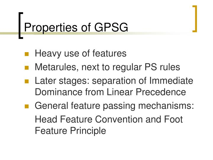 Properties of GPSG