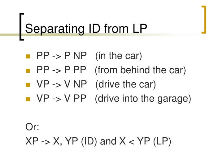 Separating ID from LP