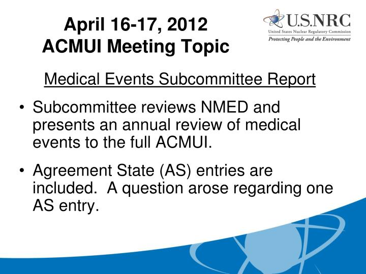 Medical Events Subcommittee Report