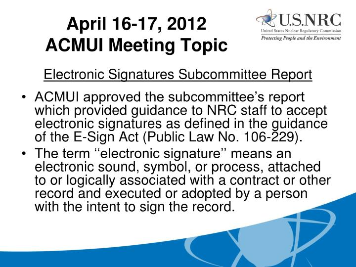 Electronic Signatures Subcommittee Report