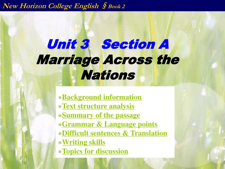unit 3 section a marriage across the nations n.