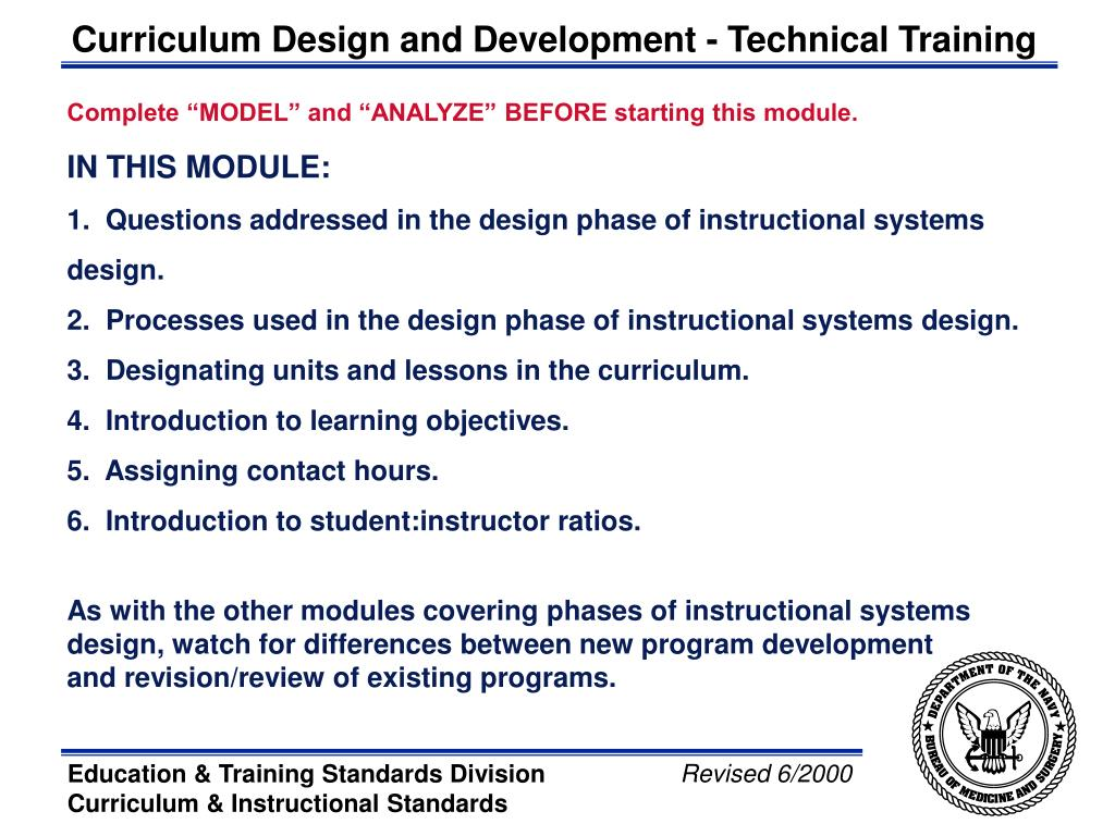 Ppt Bureau Of Medicine Surgery Phases Of Curriculum Design Design Powerpoint Presentation Id 3143003