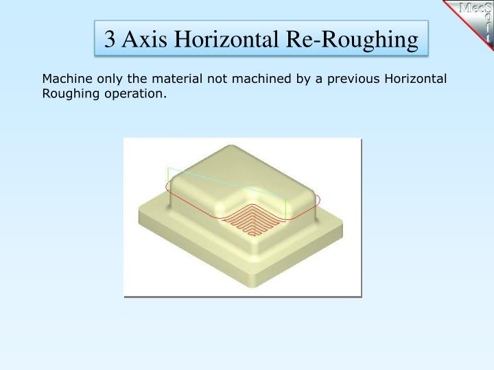 3 Axis Horizontal Re-Roughing