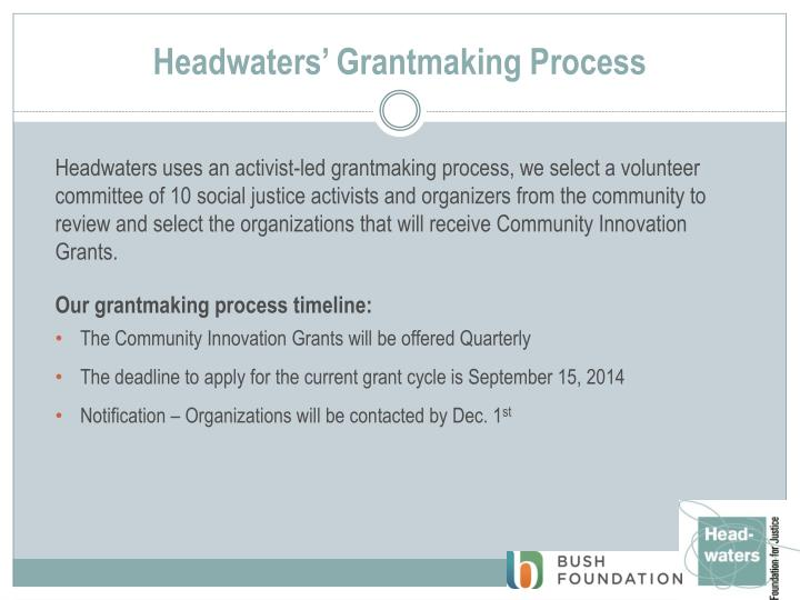 Headwaters grantmaking process
