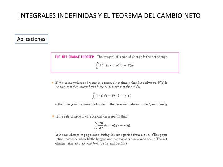 INTEGRALES INDEFINIDAS Y EL TEOREMA DEL CAMBIO NETO