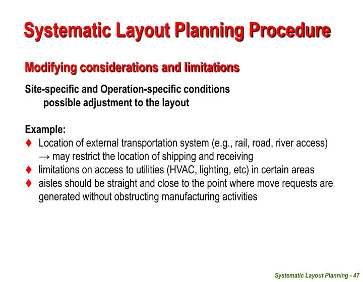 example of systematic planning
