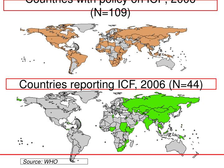 Countries with policy on ICF, 2006 (N=109)