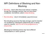 mpi definitions of blocking and non blocking