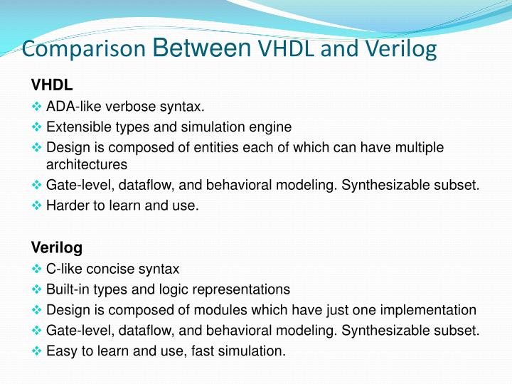 Difference between vhdl and verilog ppt