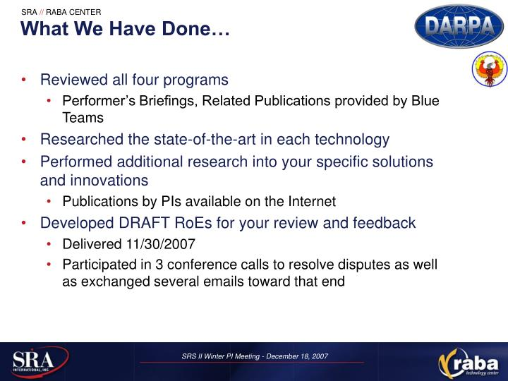 What We Have Done…