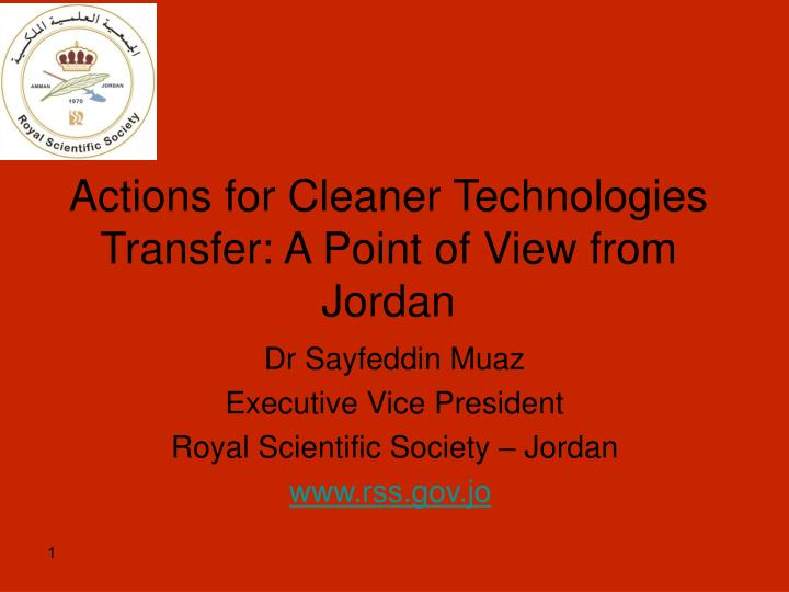 actions for cleaner technologies transfer a point of view from jordan