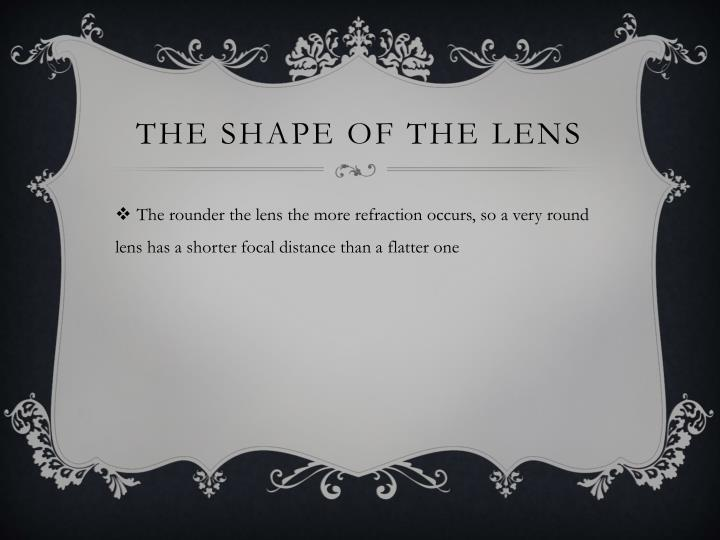 The shape of the lens