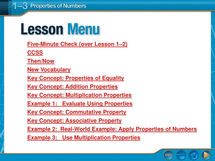 PPT - Lesson Menu PowerPoint Presentation - ID:3144530