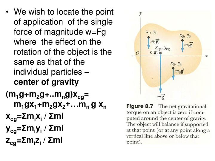We wish to locate the point of application  of the single force of magnitude w=Fg where  the effect on the rotation of the object is the same as that of the individual particles –