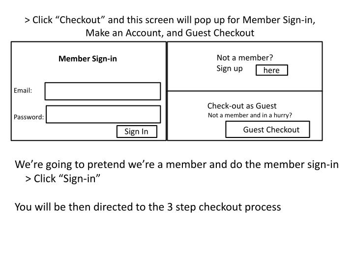 """> Click """"Checkout"""" and this screen will pop up for Member Sign-in, Make an Account, and Guest Checkout"""
