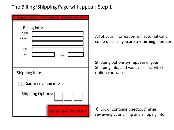 The Billing/Shipping Page will appear: Step 1