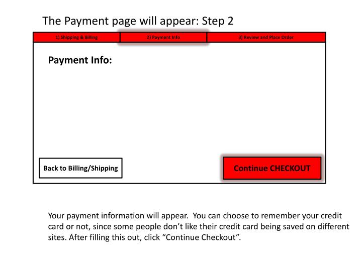 The Payment page will appear: Step 2
