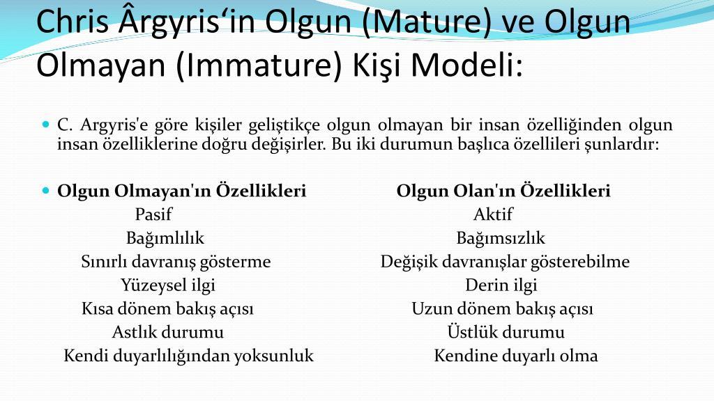Argyris Maturity Theory Models Of Maturity