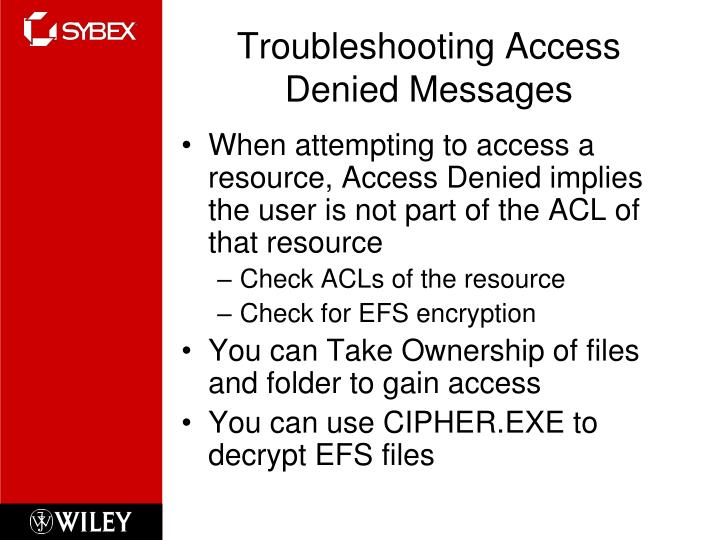 Troubleshooting Access Denied Messages