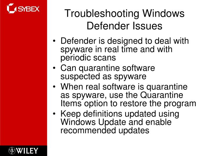 Troubleshooting Windows Defender Issues