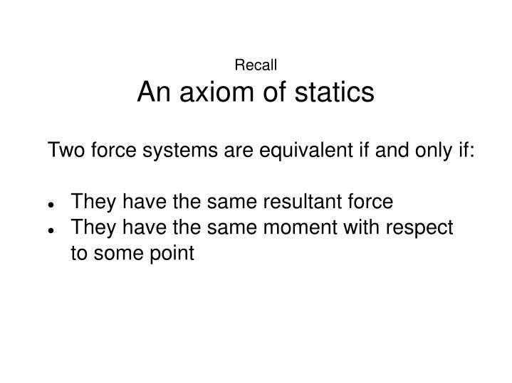 Recall an axiom of statics