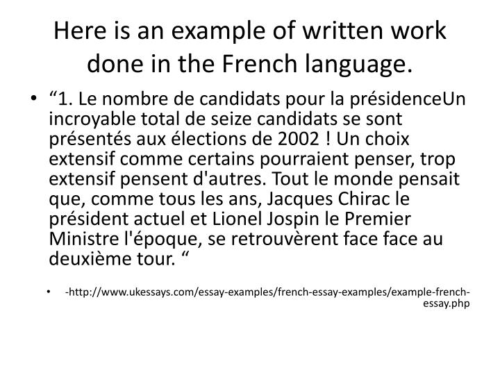 Here is an example of written work done in the french language