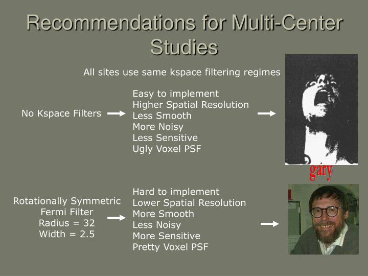 Recommendations for Multi-Center Studies