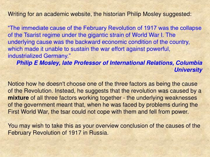 Writing for an academic website, the historian Philip Mosley suggested: