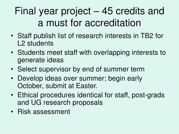 Final year project – 45 credits and a must for accreditation