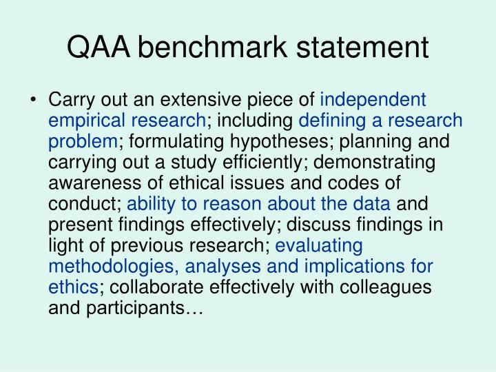 QAA benchmark statement