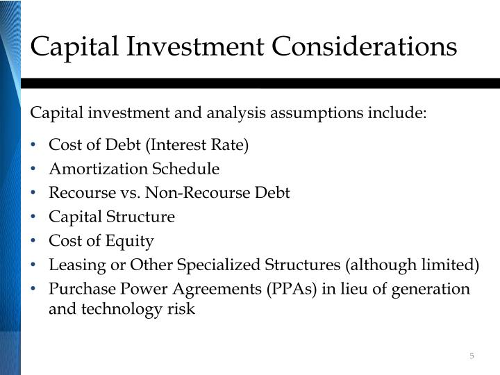 Capital Investment Considerations