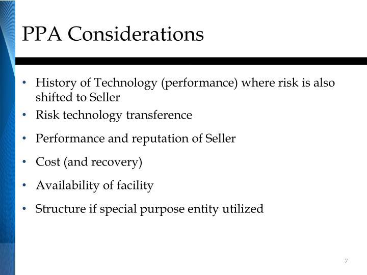 PPA Considerations